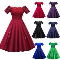 Women Vintage Swing Dress Slash Neck Patchwork Short Sleeve Party Elegant Dress