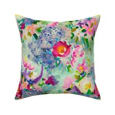 Painted Floral Mint Green Throw Pillow Cover w Optional Insert by Roostery