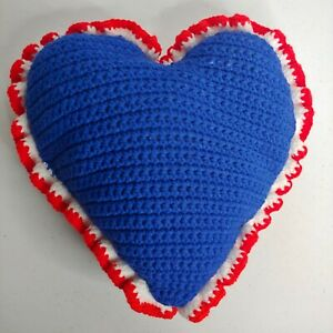 "Vintage Handmade Crochet USA Heart Pillow Patriotic Red White Blue Décor 13x14"""