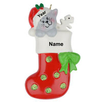 MAXORA Personalized Ornament Kitty Stocking Presents for Christmas With Gift Box