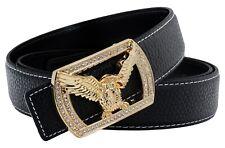 QHA Mens Leather Belt Luxury Falcon Style Eagle Diamond Pin Buckle Gift Q52