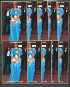 LADY DIANA NIGER 1997 180f Blue Evening Dress MNH Minisheets 10x [D160]