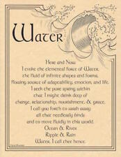 Water Evocation Parchment Page for Book of Shadows, Altar!