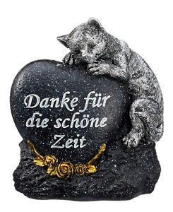 Grabstein Katze mit Herz in Anthrazit 14 cm Figuren Grabdeko Gedenkstein