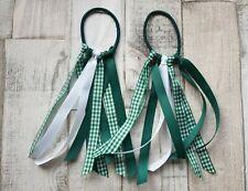 Handmade Summer hair bobbles Green and White Gingham set Accessories/School