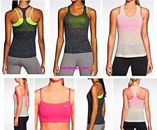 NIKE 2-IN-1 SPORTS BRA + TANK TOP TRAIN WORK OUT GYM MEZZO HOT PINK BLACK WHITE