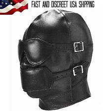 Black Gimp Hood Blindfold Gag Mouth Restraint Sensory Deprivation Mask Costume