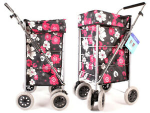 Shopping Trolley Caged Strong Folding Flat Bag 6 Wheel Light weight Case New