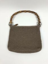 The Sak Beige Macrame Purse Handbag Bamboo Handle Crochet Woven Zipper Medium