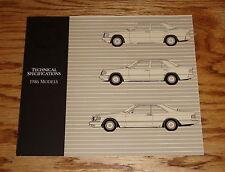 Original 1986 Mercedes Benz Technical Specifications Foldout Sales Brochure 86