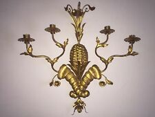 Vintage Gold Tole Pineapple Wall Candle Holder Sconce