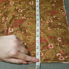 """Tan 41"""" Corduroy W/ Embroidered Pink Red Flowers Paisleys Pink Flowers 1yd 32 in"""