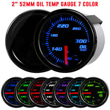 "2"" 52mm Tinted Electronic Oil Temp Temperature Gauge Meter 7 Color LED 100~300℉"