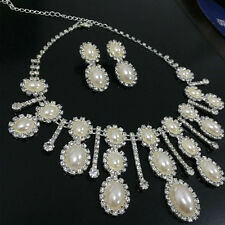 Pageant Bride Jewelry Oval Faux Pearl Crystal Necklace Earring SET Silver