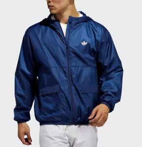 MED  adidas Originals Men's Lightweight Hooded Windbreaker JACKET  BLUE  LAST1
