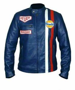Steve McQueen Gulf Motorcycle Biker Blue Slim Fit Genuine Leather Jacket Mens
