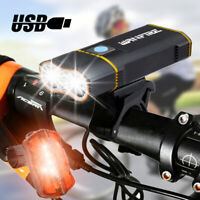 USB Rechargeable LED Bike Headlight Cycling Bicycle Front Light Rear Mount Set