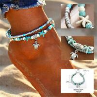 Boho Ankle Bracelet Silver Tone Women's Fashion Beaded Adjustable Beach Anklet