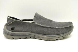 Skechers Gray Canvas Mock Toe Slip On Loafers Shoes Men's 13