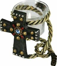 Metal rope and cross candleholder