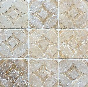 Walnut Tumbled 4x4 Circa Carved Handmade Travertine Stone Decor Tile Backsplash