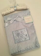 Sumersault Baby Boy Velour Blanket Blue Satin Embrodered Airplane Layette