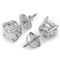 2ct Round Cut Stud Solitaire Earrings Gift Solid 14k White Gold Screw Back