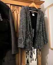 CHANEL 100% Couture Fantasy Tweed Boucle Silk Sash Jacket 08A Eu46 Large RARE!