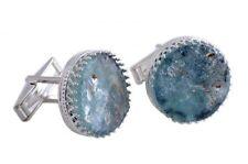 Beautiful Round 925 Sterling Silver Ancient Roman Glass Cufflinks