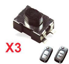 3x Switch bouton pour clé pliante télécommande plip Renault Clio Modus Kangoo ..