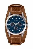 KAHUNA MEN'S BLUE DIAL BROWN CUFF STRAP CHRONOGRAPH WATCH - KSC0013G - RRP:£60