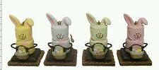 S'MORES EASTER BUNNY RABBIT ORNAMENTS CRACKER MARSHMALLOW CHOCOLATE MIDWEST SET4