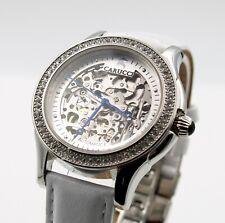 Armbanduhr, Automatikuhr Damen Skelettuhr Glasboden Lederarmband.CA2212SL
