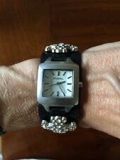 Fossil Designer Womens Black Leather Cubic Zirconia Cross Watch JR8834