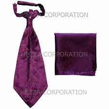 New Vesuvio Napoli Men's Polyester Ascot Cravat Necktie Hankie Paisley Purple