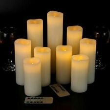 """Flameless Candles Led Candles Set of 9(H 4"""" 5"""" 6"""" 7"""" 8"""" 9"""" xD 2.2"""") Ivory Real"""