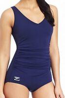 Speedo Navy Blue Women's Size 10 One-Piece Gathered V-Neck Solid Swimwear #752