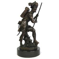 1800 British Soldier Solid Bronze Sculpture On Marble Base.Heavy.Impressive.NEW.