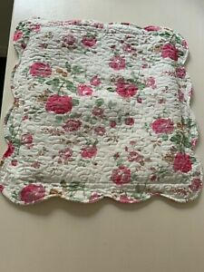 vintage floral cushion cover with frill.  Size 45x45cm Pink and cream.