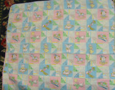 Vintage 32x32 in baby blanket nursery chic lamb kitten dog fabric retro chic