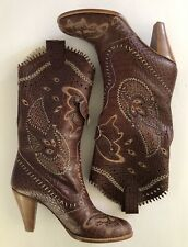 Anna Sui Runway Brown Leather Butterfly Embossed Embroidered Cowgirl Boots US 8