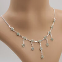 Aquamarin Collier Kette Silber 925 Sterlingsilber Edelsteine Halskette ts