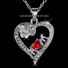Mum Heart Crystal Silver Necklace Promise Love Xmas Gifts For Her Daughter Women