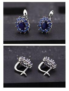 1.89Ct Natural Blue Sapphire Stud Earrings 925 Sterling Silver Gemstones Vintage