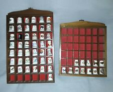 More details for two wooden wall mounted display cases for thimbles  with x55 mixed thimbles