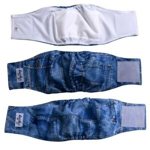 JoyDaog 3 Pack Jean Belly Bands for Male Dog Diapers Reusable Belly Wrap XXL