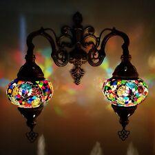 Fatto a Mano Turco Stile Marocchino Vetro Mosaico Doppia Parete Lampada -