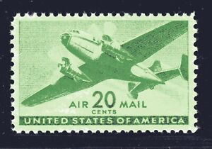 U.S. STAMP #C29 20c TRANSPORT PLANE AIRMAIL— XF-SUPERB -MINT -GRADED 95