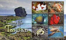 St Kitts 2015 MNH Marine Life of Taiwan 6v M/S Turtles Crabs Fish Clownfish