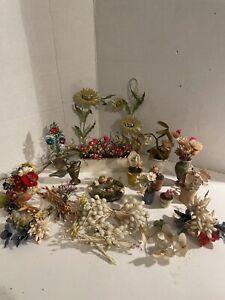 Antique German Dollhouse Garden Flower Pot Lot Wood/metal/ Cloth/Tin ! NICE!
